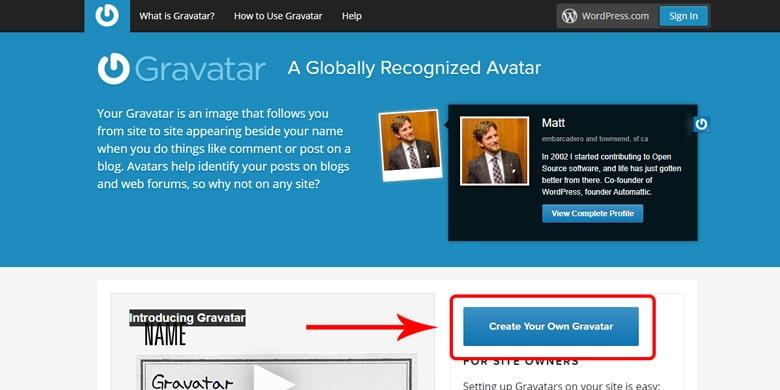 Register with Gravatar