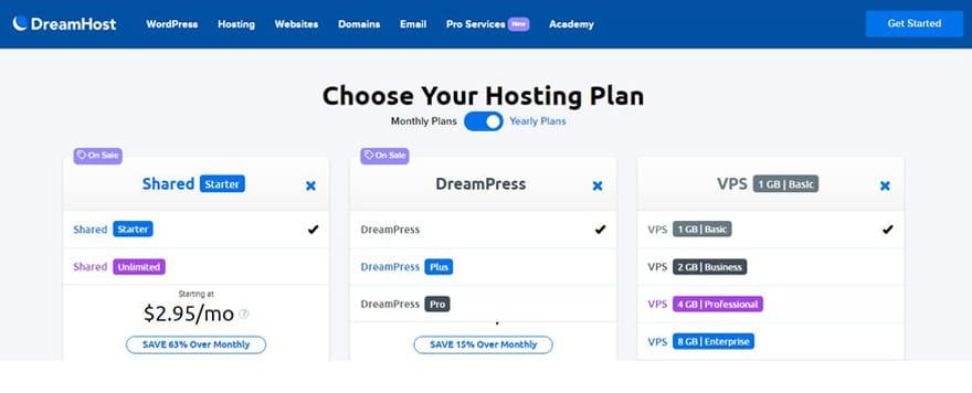 dreamhost webhosting site